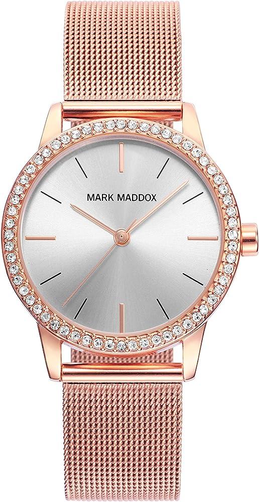 Mark maddox, orlogio da donna, in acciaio inossidabile colore oro rosa e lunetta decorata con zirconi MF2002-97