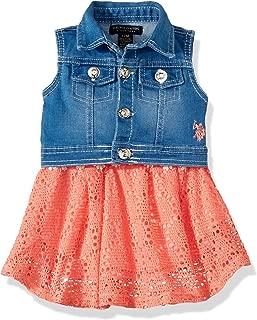 U.S. Polo Assn. Baby Girl's 2 Piece Lace Fashion Dress and Denim Vest Set Dress, Denim Vest Lace Dress