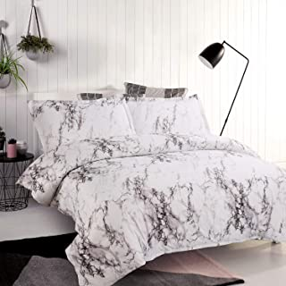 Bedsure Duvet Cover Set with Zipper Closure-Printed Marble Design,Twin (68x90 inches)-2 Pieces (1 Duvet Cover + 1 Pillow S...