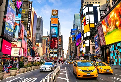 10x7ft New York Times Square Shopping Mall Vinyl Photography Background Bustling Street Serried Advertising Board Skyscrapers Scenic Backdrop Flourishing Cityscape Wallpaper Studio Props