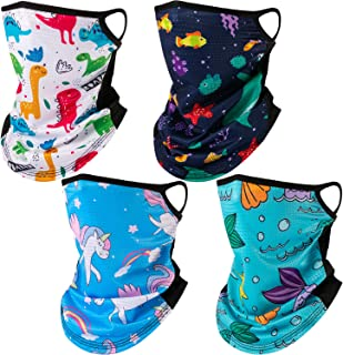 4 Pieces Kids Neck Gaiter with Ear Loops UV Dust Wind Protection Balaclavas Mesh Hole Face Cover Bandana for Girls Boys (Animal Style)