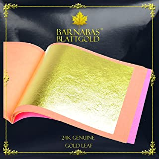 Genuine Gold Leaf Sheets 24k - by Barnabas Blattgold - 3.1 inches - 25 Sheets Booklet - Loose Leaf