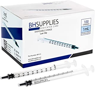1ml Syringe Sterile with Luer Slip Tip - 100 Syringes by BH Supplies (No needle) Individually Sealed - FDA Approved