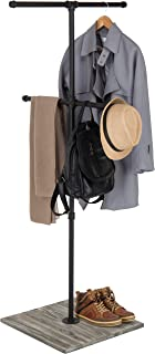 MyGift Industrial Pipe Clothing Display Stand with Vintage Gray Wood Base