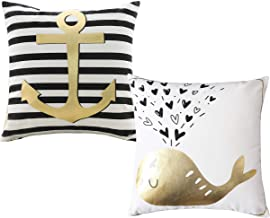 Home Brilliant Throw Pillow Covers Gold and White Decorative Nautical Ocean Theme Pillow Covers Wheal and Anchor Gilding Print Cushion Covers for Boy's Room, 2 Pack, 18 x 18 inch (45 x 45)