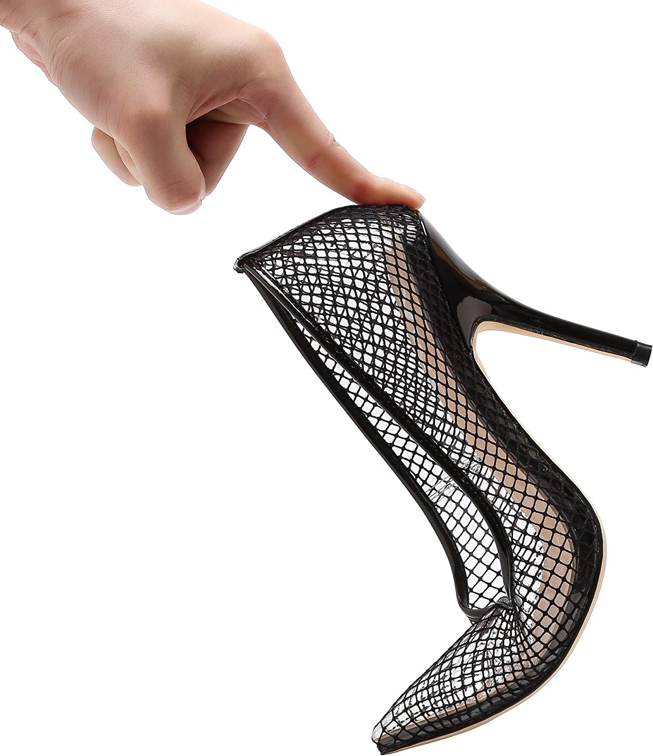 Vivi Fashion High Heel Pointed Clear Pumps Heels Slip on Dress shoes for Women