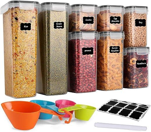 GoMaihe Vorratsdosen 8 Set, Aufbewahrungsbox Küche Luftdicht Behälter aus Plastik Mit Deckel, Vorratsgläser zur Aufbewahrung von Nudeln, Müsli,…