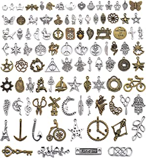 UKER Wholesale Bulk Charms Pendant Mixed Tibetan Silver and Antique Bronze Metal Charms for Necklace Bracelet Jewelry Making and Crafting, About 100pcs