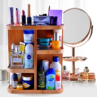 REFINE 360 Bamboo Makeup and Cosmetic Organizer, Storage Carousel for Vanity, Bathroom, Closet, Kitchen, Tabletop,countertop, Desk