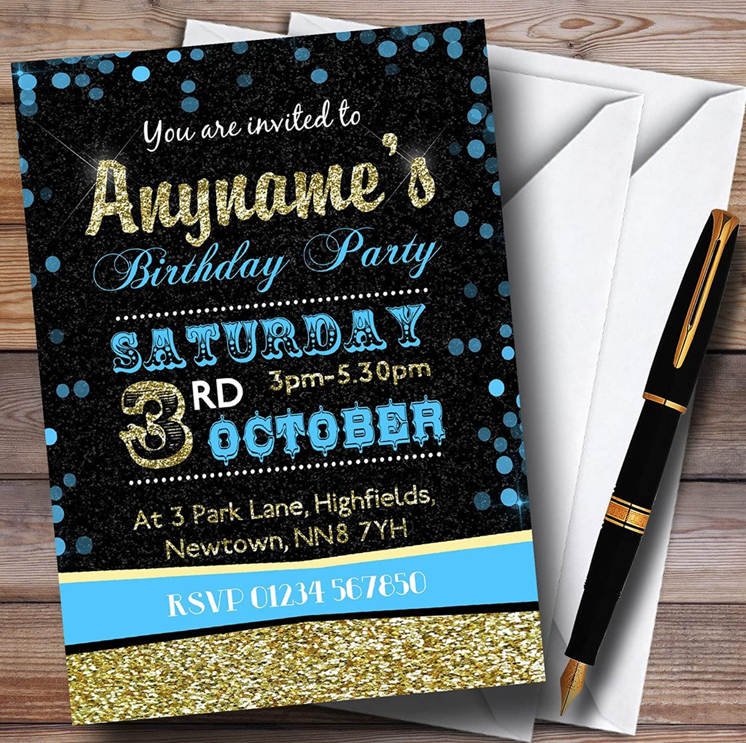 Glitter Look Sky bluee And gold Birthday Party Personalised Invitations   Invites & Envelopes