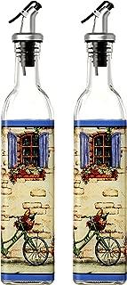 Juvale Oil and Vinegar Dispensers - Salad Dressing Cruets – Set of 2 Glass Bottles with Lever Release Pourer - European Design - 17-Ounce