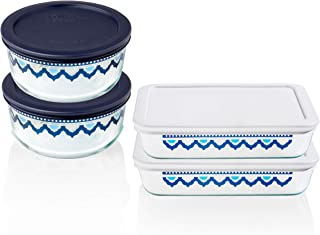 Pyrex Decorated Glass Food Storage Set (8-Piece, BPA Free, Santorini)