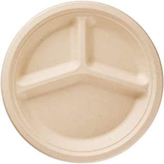 """HARVEST PACK 10"""" inch Compostable Disposable Paper Plates, Round Divided 3 Compartments - Made From Eco-Friendly Plant Fib..."""
