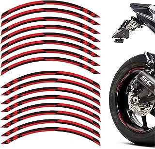 MC Motoparts 2 Set 8 Stück 43,2 cm Felgen Streifen Aufkleber Klebeband DIY Karomuster für Yamaha YZF R1 R3 R6 R1M (schwarz rot)