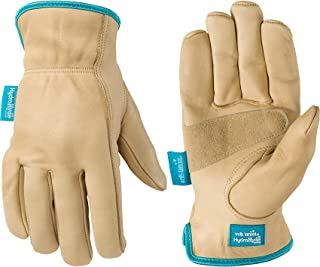 Women's Water-Resistant Leather Work Gloves, HydraHyde, Medium (Wells Lamont 1167M), Tan