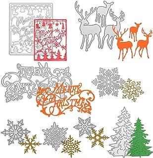 8 Pieces Christmas Tree Snowflake Cutting Dies Christmas Metal Stencils for DIY Scrapbook Card Making Supplies
