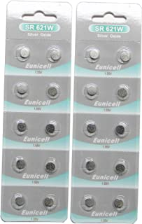 20 Eunicell SR621SW SR621W 364 Silver Oxide Button Cell 1.55V Battery Long Shelf Life 0% Mercury (Expire Date Marked)