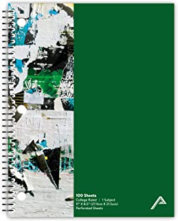 """Viva Activa Creative College Ruled Spiral Notebook, 1 Subject, 100 Pages, 8.5"""" x 11"""", Graffiti Design, Green"""