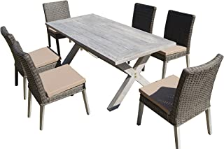 Carabelle Lindmere 7-Piece Antique Grey Hard Wood/Grey All-Weather Wicker Outdoor Patio Dining Set with Beige Cushions