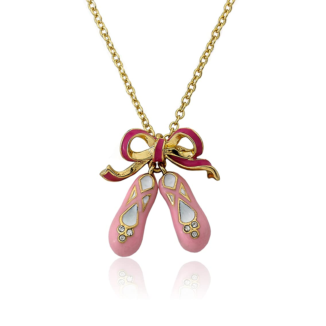 Little Miss Twin Stars14k Girls Necklace Gold Plated Enamel Bow & Ballerina Shoes Ballet Necklace