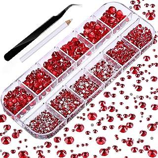 Fugift - 2000 gemme rotonde con strass di cristallo per raccogliere pinzette, per fai da te, artigianato, nail art, vestit...
