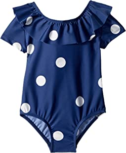 mini rodini Dot Short Sleeve Swimsuit (Infant/Toddler/Little Kids/Big Kids)
