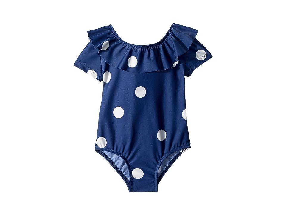 mini rodini Dot Short Sleeve Swimsuit (Infant/Toddler/Little Kids/Big Kids) (Navy) Girl