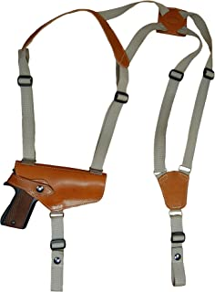 Barsony New Horizontal Saddle Tan Leather Shoulder Holster for Full Size 9mm 40 45