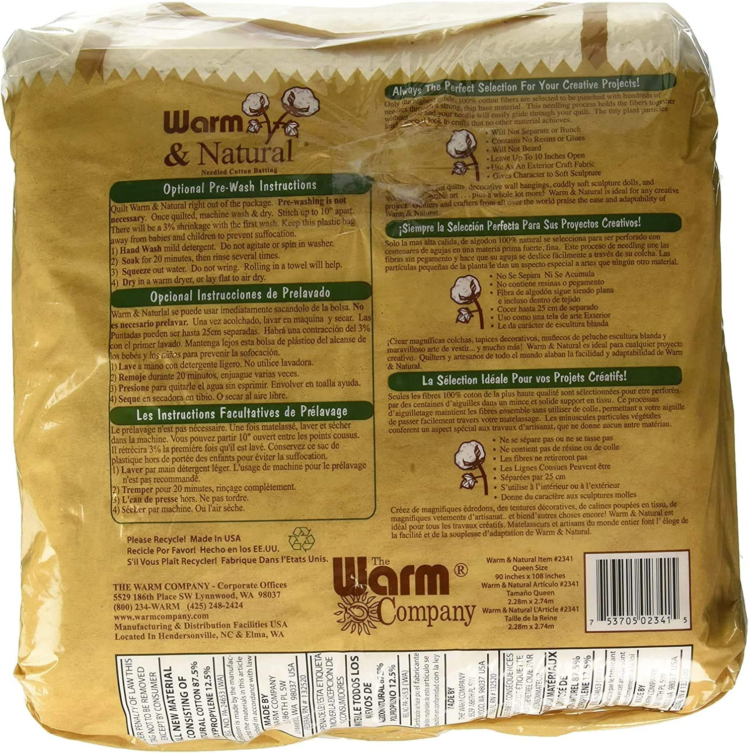2 Pack Warm Company Batting 2391 72-Inch by 90-Inch Warm and Natural Cotton Batting