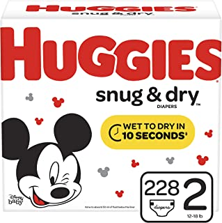 Huggies Snug & Dry Diapers, Size 2 (12-18 lb.), 228 Ct, One Month Supply (Packaging May Vary)