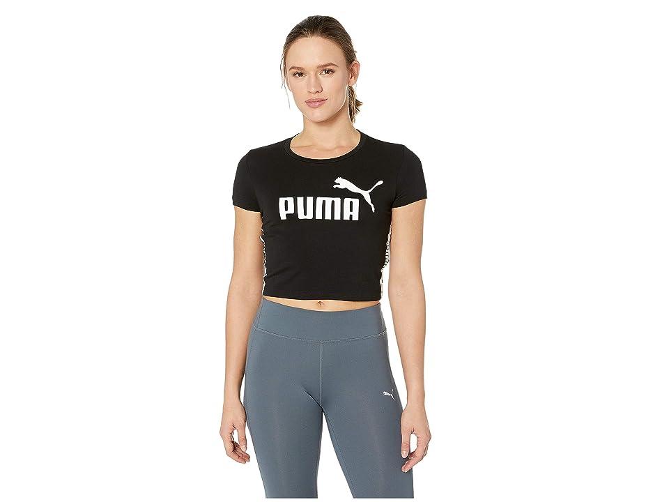 PUMA Tape Logo Cropped Tee (Cotton Black) Women