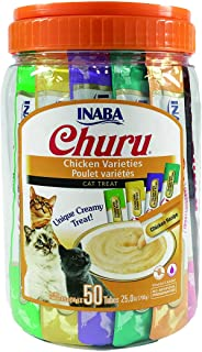 INABA Churu Lickable Purée Wet Treat for Cats | Playful Hand Feed or as Food Topper | Grain Free, Preservative Free, with Added Vitamin E and Green Tea | 50 Tube Chicken Variety Pack