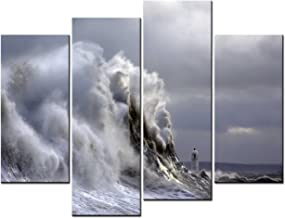 yuanclllp - Ocean Landscape Paintings Wall Art the Huge Wave Close To the Lighthouse in the Storm 4 Panel Picture Print on Canvas for Modern Home Decoration
