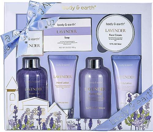 Coffret Cadeau de Bain & Douche Bio pour Femme, Body&Earth 6 Pcs Coffret Bain au Parfum de Lavande, Parfait Cadeau po...