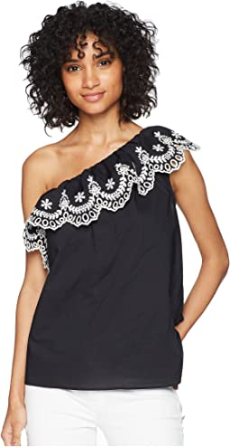 One Shoulder Cutwork Top