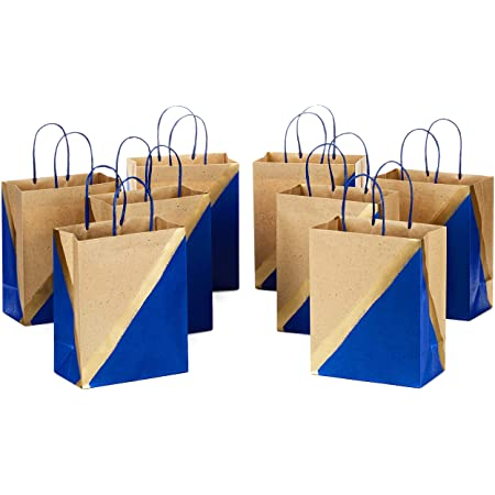 """Hallmark 9"""" Medium Paper Gift Bags (Pack of 8 - Blue & Kraft) for Hanukkah, Birthdays, Weddings, Father's Day, Graduations, Baby Showers, Bridal Showers, Care Packages, May Day"""
