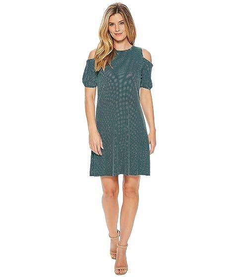 Mod Geo Cold Shoulder Dress, Turquoise/Black