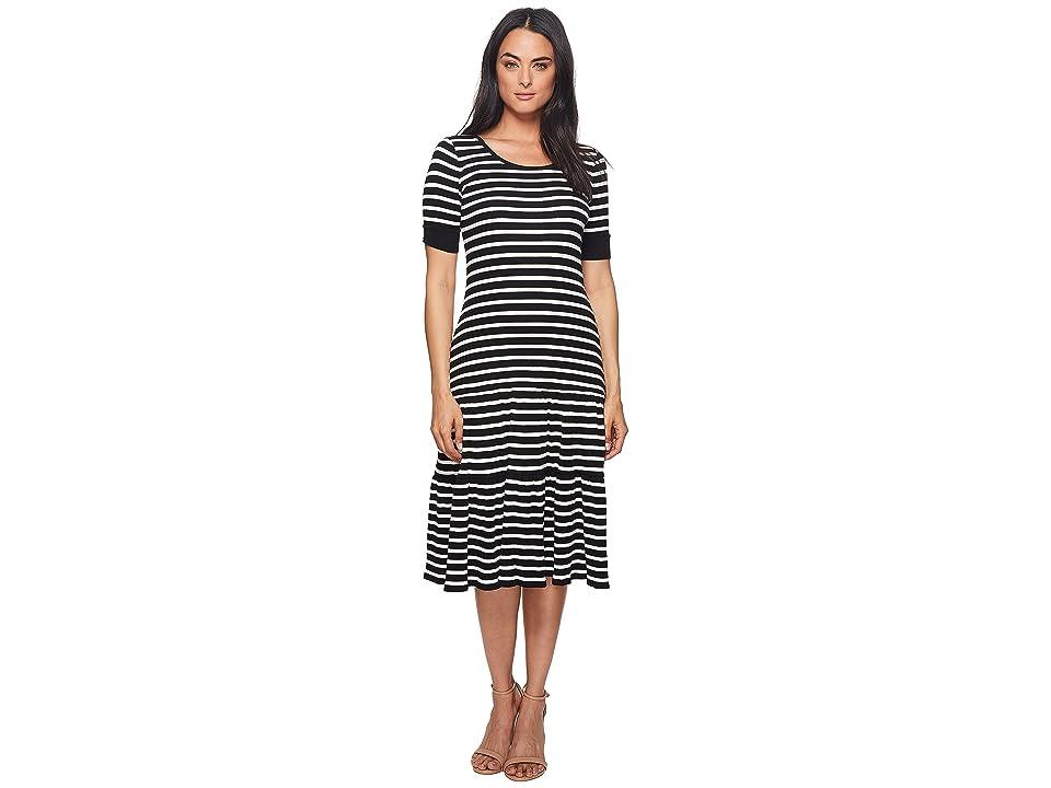 LAUREN Ralph Lauren Striped Waffle-Knit Cotton Dress (Polo Black/Mascarpone Cream) Women