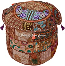 """Stylo Culture Bohemian Footstool Vintage Fabric Patchwork 18"""" Embroidered Ottoman Stool Pouf Cover Brown Floral Ottoman Fu..."""