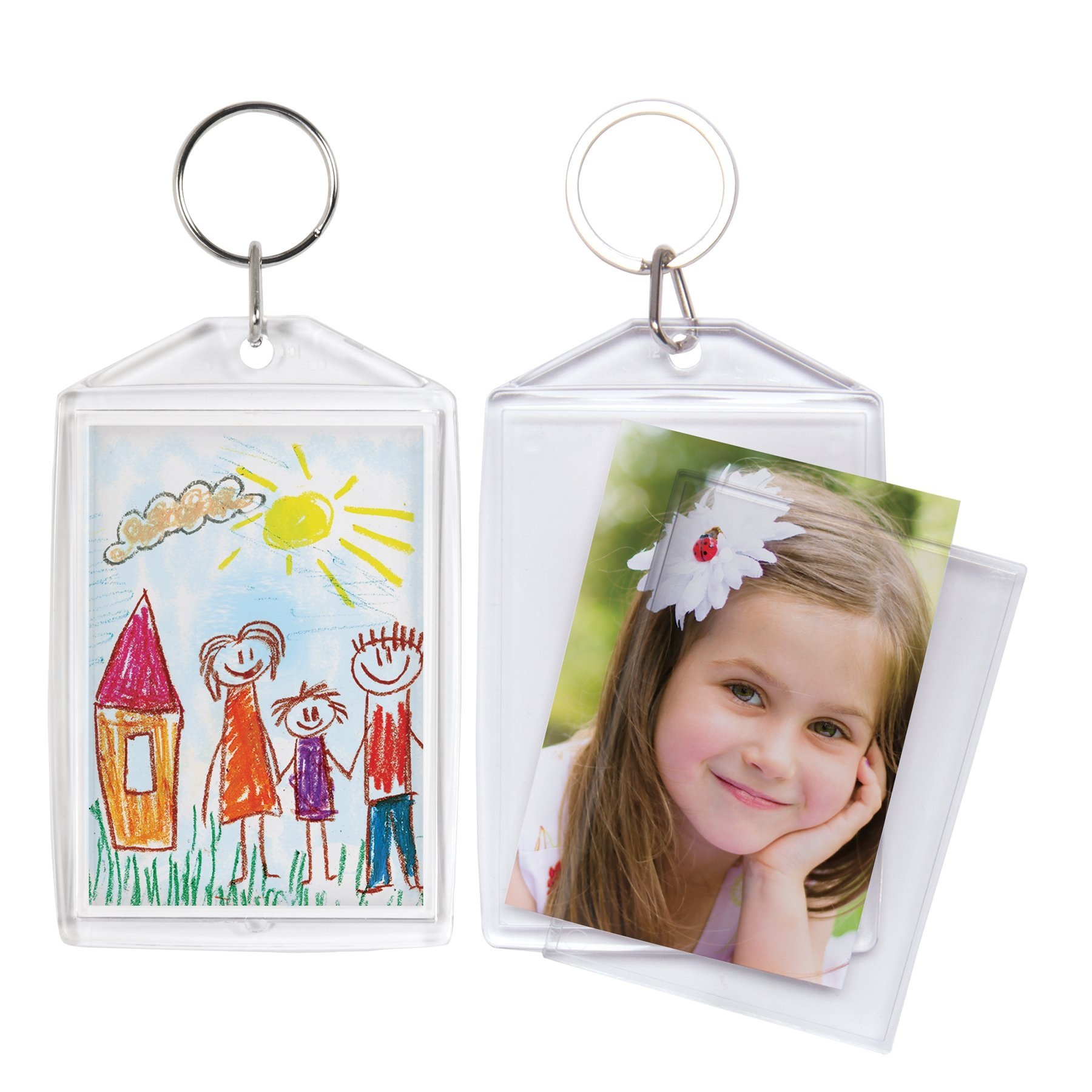 "SET OF TWO ACRYLIC PHOTO SNAP-IN KEYCHAIN   2/"" x 3/"""