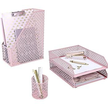ANNOVA Mesh Desk Organizer 4 Pieces Office Suppliers Desktop Organizer Set Desk Accessories - Letter/File Tray x 2, Magazine Rack/Upright Document Holder x 1, Pen Holder x 1 (Light Pink)