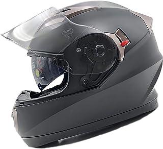 NatHut Casco Moto Integral ECE Homologado | Casco Scooter para Hombre y Mujer | Casco Unisex Negro de Motocicleta para Adultos con Doble Visera Anti-rasguños y Protección Rayos UV (M 56-58cm, Negro)