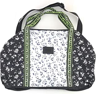 PINK Travel Duffle Bag Black White Neon Floral
