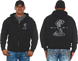JH Design Group Mens Shelby Cobra Zip-Up Hoodie with Front & Back Emblems