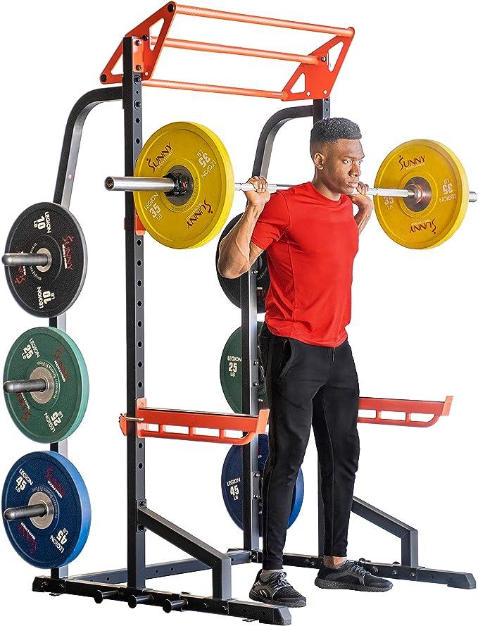 Sunny Health & Fitness Power Zone Half Rack Heavy Duty Performance Power Cage