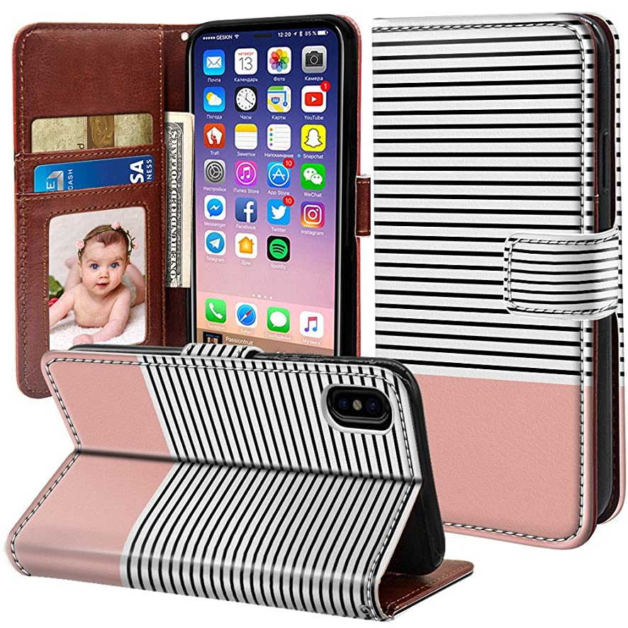 ONSPACE Wallet Case For iPhone X, Magnetic Protective Cover Case Card Slots and Wrist Strap, Custom Printed Pink Stripe PU leather Stand Feature iPhone 10 5.8 Inch Case