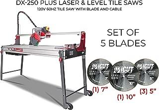 Rubi DX-250 PLUS Laser&Level tile saws - Bundle with Set of 5 Diamond Blades