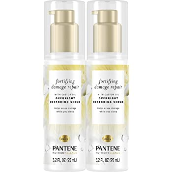 Pantene Nutrient Blends Fortifying Damage Repair Overnight Serum, Sulfate Free, 3.2 fl oz Twin Pack