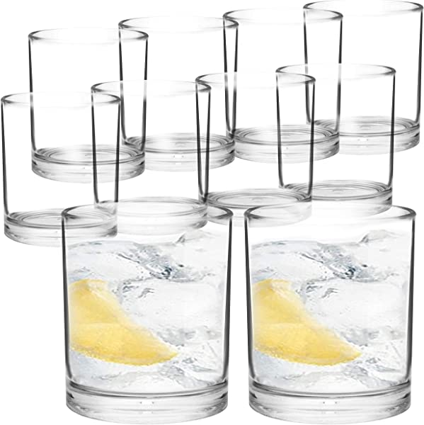 Youngever 12 Ounce Premium Quality Plastic Water Tumbler Plastic Glasses Reusable Plastic Cups Unbreakable Glasses Plastic Tumblers Set Of 8