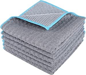 Lifaith Microfiber Waffle Weave Dish Cloth Best Kitchen Cloths Cleaning Cloths with Poly Scour Side 12Inchx12Inch 6-Pack Grey